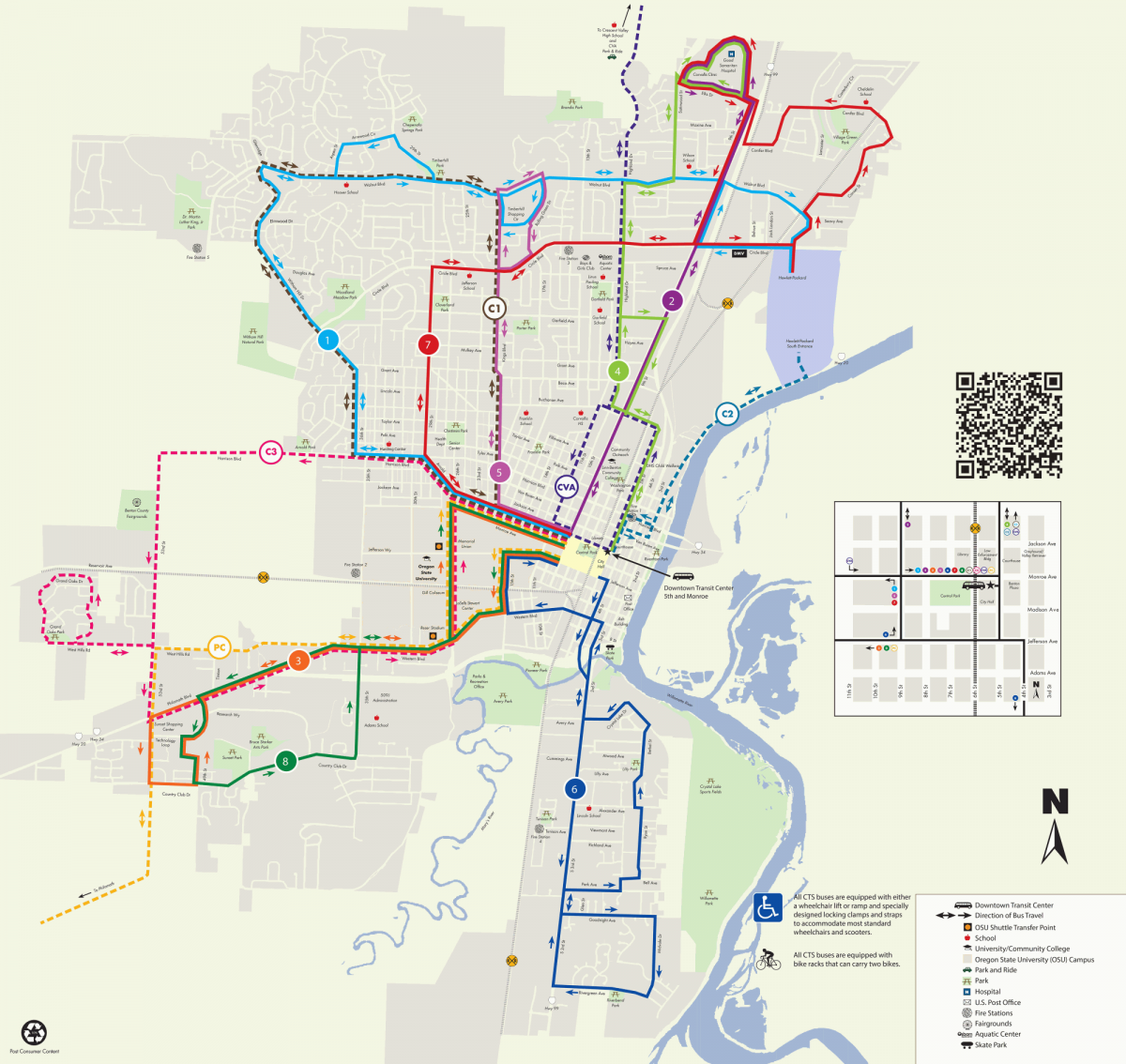 CTS System Map Corvallis Oregon - Transit map